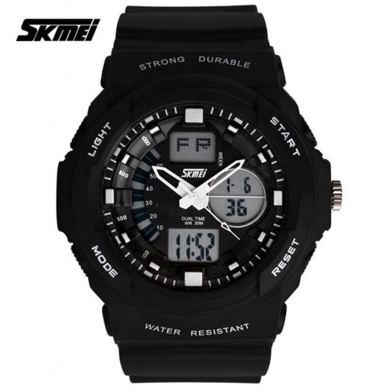 SKMEI 0955 Mens LED Analog Digital Alarm Sport Watch (Black) Malaysia