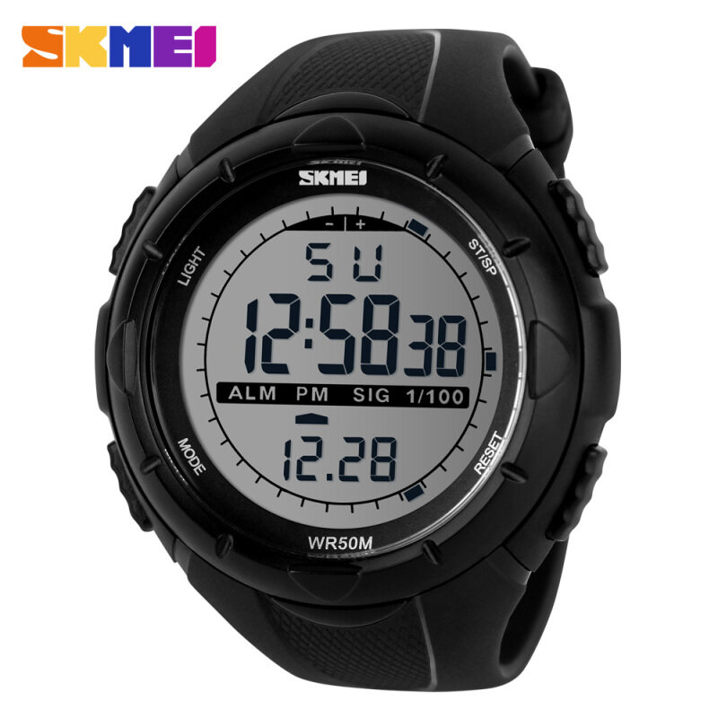 SKMEI 1025 Rubber Strap Waterproof Fashion Casual Business Sport Men Male Digital Wrist Watch (Date/Calendar/Alarm/Stopwatch/Light) - Black Malaysia