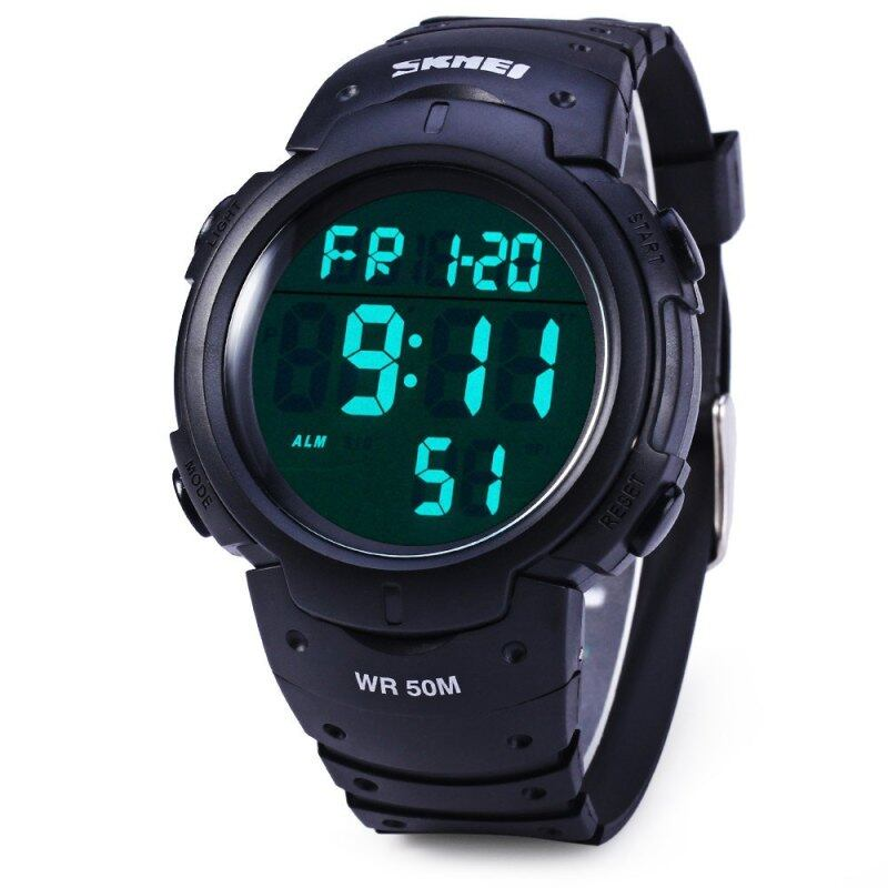 Skmei 1068 Military Army LED Watch Water Resistant Stopwatch Alarm Day Date Function Malaysia