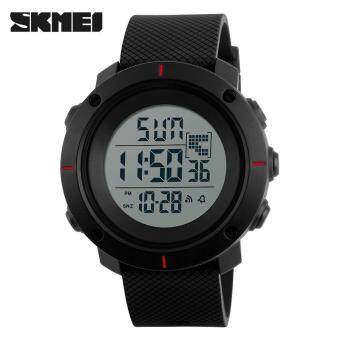 Harga SKMEI 1213 Men Fashion Outdoor Wristwatches Military 50M WaterproofLED Digital Watch Clock Men Sports Watches - Red