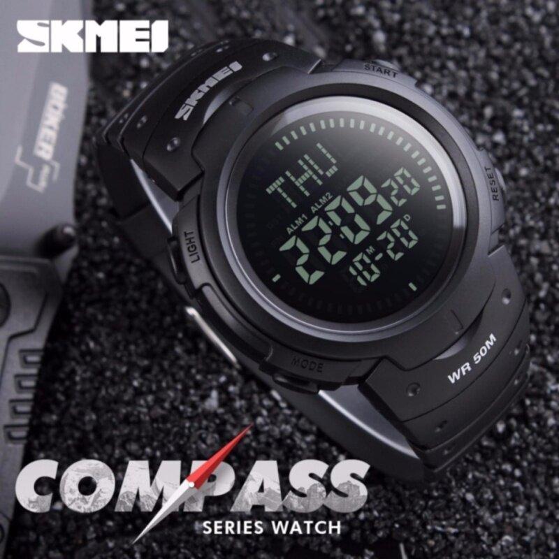 SKMEI 1231 Men Outdoor Sports Compass Watch Waterproof LED Digital Watch (Black) Malaysia