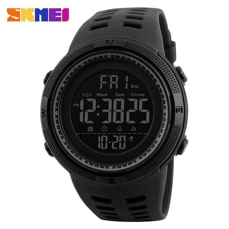 SKMEI 1251 Men Sports 50M Waterproof Countdown Double Time Watch Alarm Chrono Digital Wristwatches - All Black Malaysia