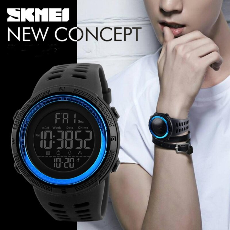 SKMEI 1251 Men Sports Watches Countdown Double Time Watch Alarm Chronograph Digital Wristwatches 50M Waterproof Clock Malaysia