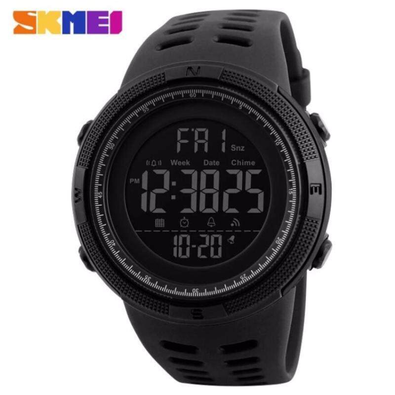 SKMEI 1251 Mens Sports Watches Countdown Double Time Watch Alarm Chrono Digital Wristwatches 50M Waterproof Watches - All Black Malaysia