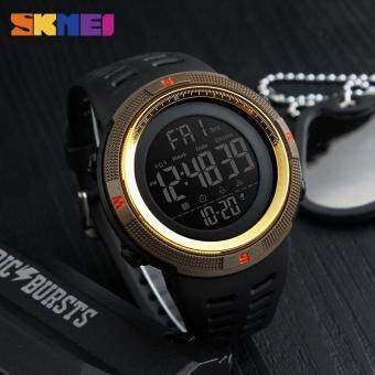 SKMEI 1251 Men's Sports Watches Countdown Double Time Watch Alarm Chrono Digital Wristwatches 50M Waterproof Watches - Black Brown Gold
