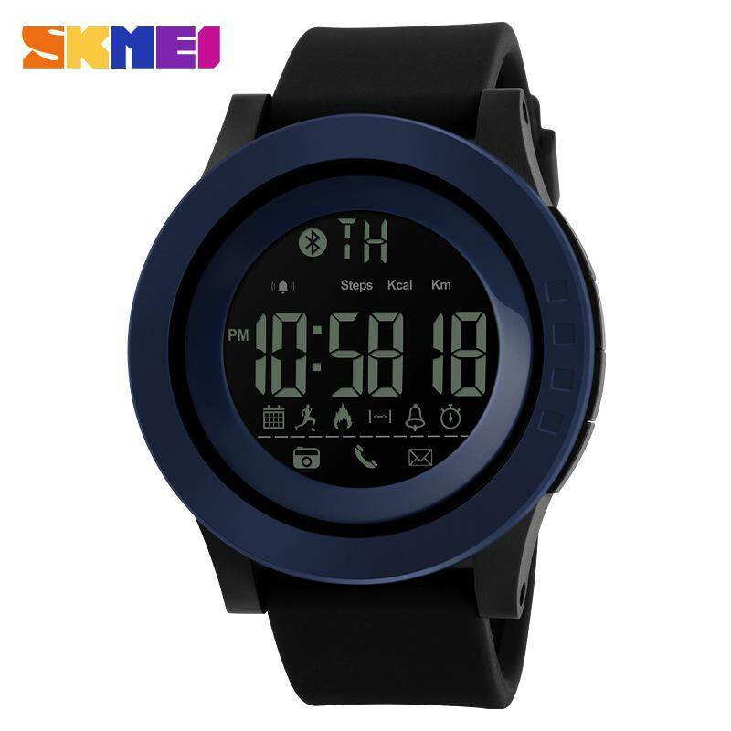 SKMEI 1255 Mens Waterproof Electronic Sports Watch Calorie Step Bluetooth Watch Blue Malaysia