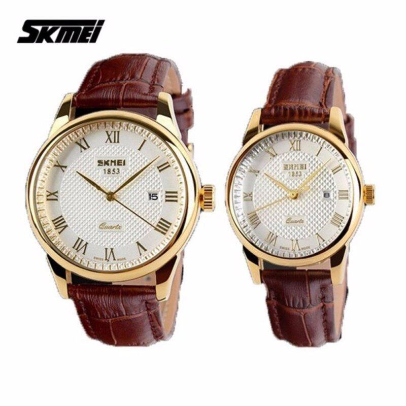 SKMEI 9058 Classic Calendar Leather Couple Watch (Gold White) - 1 Pair Malaysia