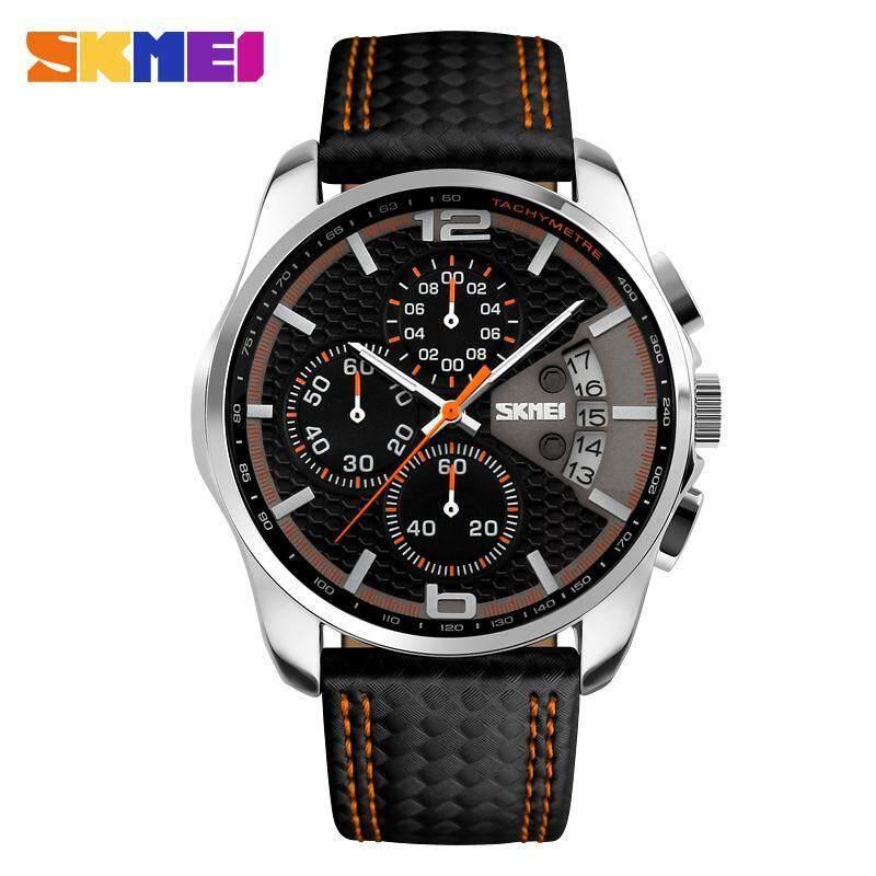 Skmei 9106 Sports Watches Mens Quartz Hour Date Clock Man Leather Strap Waterproof Wristwatch Malaysia