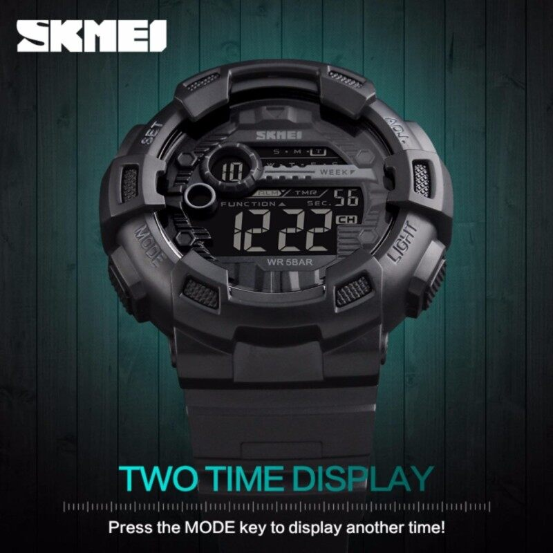 SKMEI Brand  Men Sport Watch Back Light LED Digital Watches Chronograph Shock Double Time Waterproof  Wristwatches 1243 Malaysia