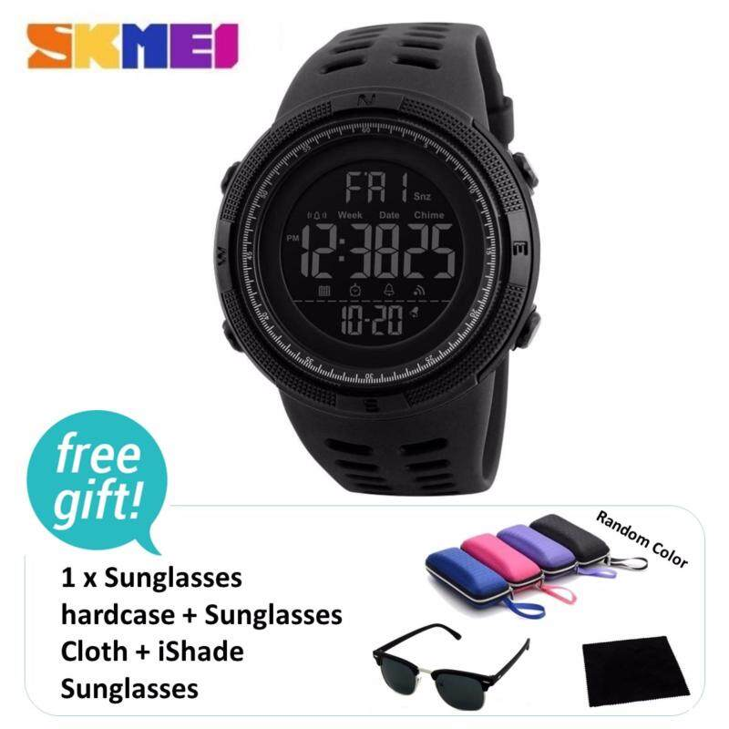 SKMEI Brand Mens Sports Countdown Double Time Alarm Chrono Digital 50M Waterproof Wristwatch + iShade Sunglasses Malaysia