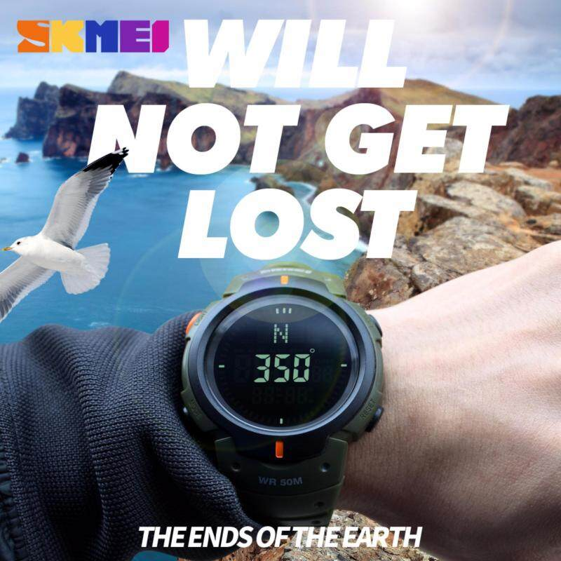 SKMEI Compass Sport Watch 5ATM Water Proof Digital Outdoor Sports Watch Mens Watch EL Backlight Countdown Wrist Watches 1231 Malaysia