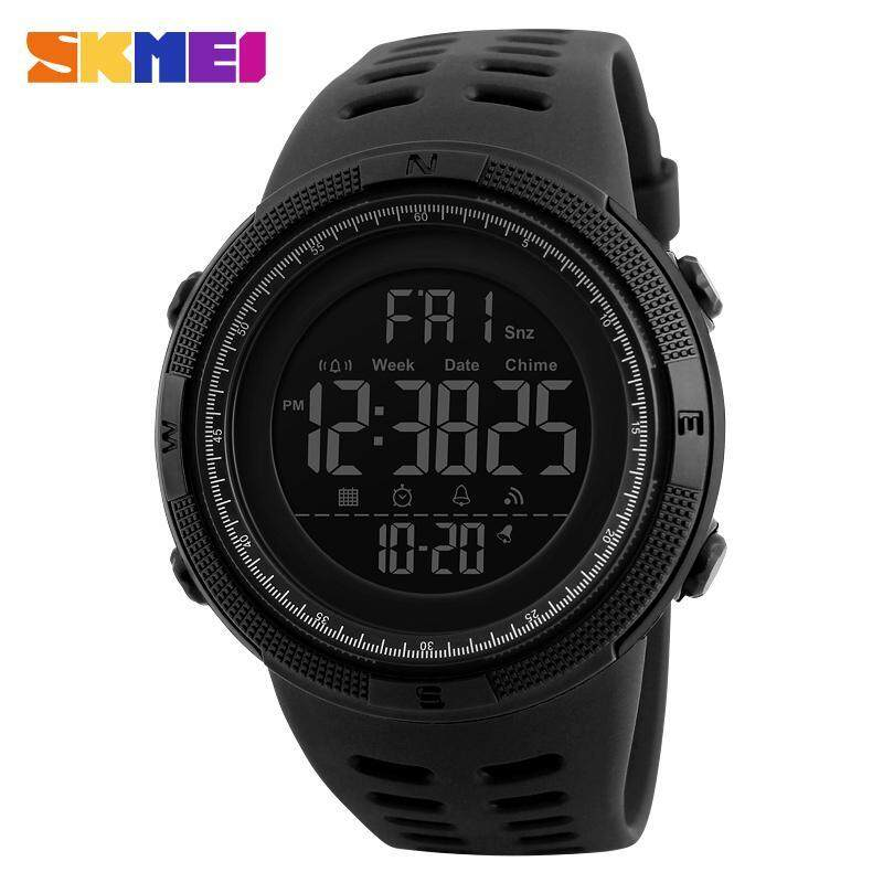 SKMEI Men Sports Watches Countdown Double Time Watch Alarm Chrono Digital Wristwatches 50M Waterproof Watches 1251 - All Black Malaysia