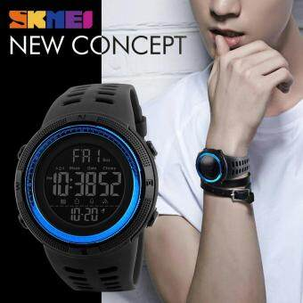 Harga SKMEI Men Sports Watches Countdown Double Time Watch Alarm Chrono Digital Wristwatches 50M Waterproof Watches 1251 - Black Blue