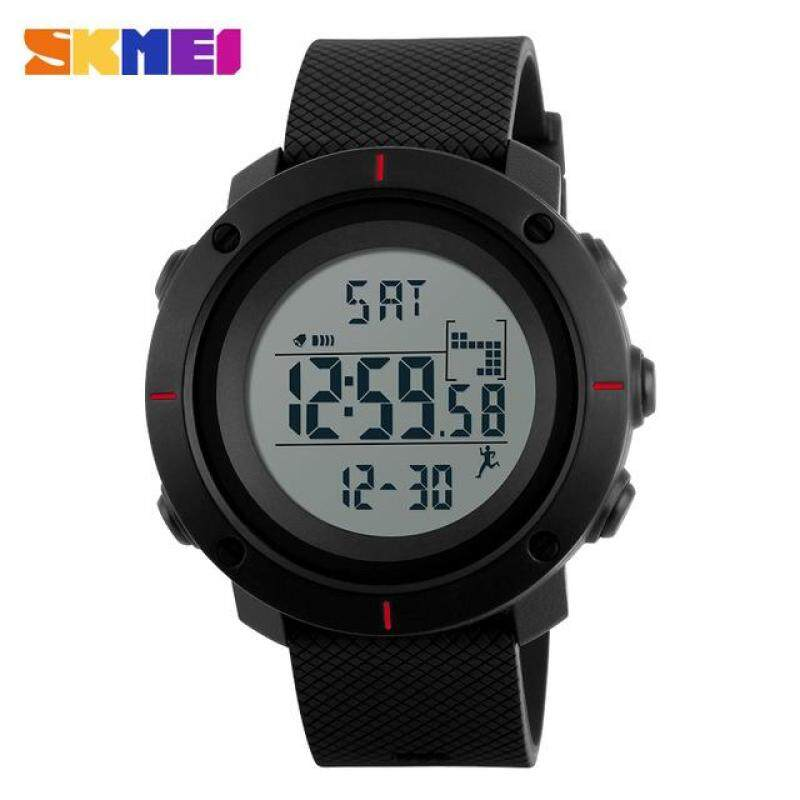 SKMEI Men Sports Watches Pedometer Calories Digital Wristwatches Chrono Back Light Repeater Waterproof 1215 - Red Malaysia