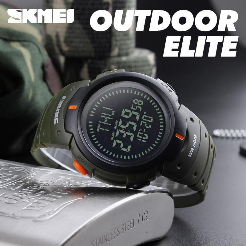 SKMEI Outdoor Man Sports Compass Watches Hiking Digital LED Electronic Watch Chronograph Men Clock - Green Malaysia