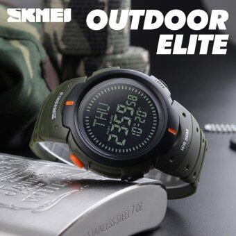 Harga SKMEI Outdoor Man Sports Compass Watches Hiking Digital LED Electronic Watch Chronograph Men Clock - Green