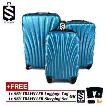 SKY TRAVELLER SKY282 ABS 3-In-1 Hard Case Shell Curve Shape Luggage (20Inch+24Inch+28Inch) - Light Blue + (FREE) SKY TRAVELLER Luggage Accessories