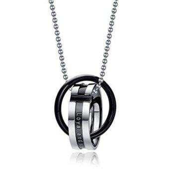 Harga Stainless Steel Interlocked Ring Couple Pendant Necklace for MenLover Valentine,Black,Silver