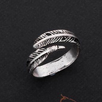 Stainless Steel Rings for Men Women Biker Ring Vintage Feather - 2