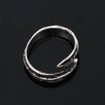 Stainless Steel Rings for Men Women Biker Ring Vintage Feather - 5