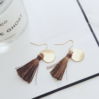 Style versatile black elegant stud tassled earrings