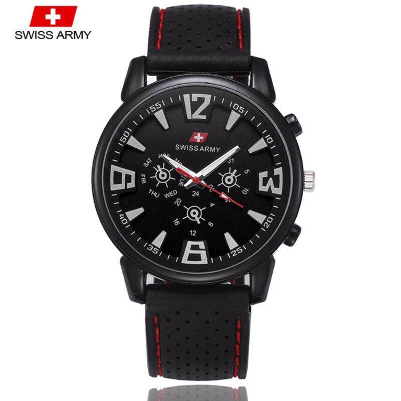 Swiss Army 002 Military Mens Silicone Strap 3 Dial Display Fashion Sport Watch (Full Black) Malaysia