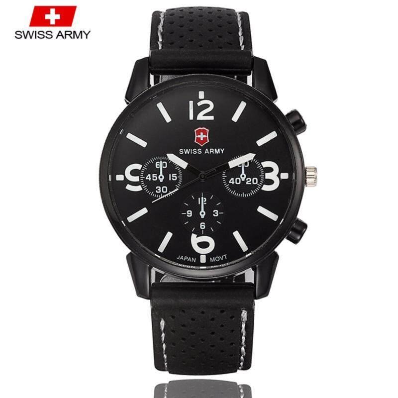 Swiss Army 1102 Military Mens Silicone Strap 3 Dial Display Fashion Sport Watch (Black White) Malaysia