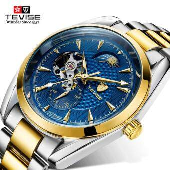 Harga Tevise Luxury Brand Watch Mechanical Watch Men Business Wristwatches Automatic Watches Men Clock Gold Blue