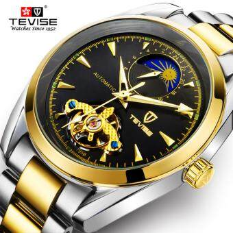 TEVISE Mechanical Watch Top Brand Men Business Luxury WatchsStainless Steel Band 3ATM Waterproof Moon Phase Tourbillon