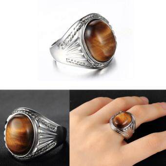 Harga Tiger's Eye Stone Vintage Ring for Men Ring Jewelry