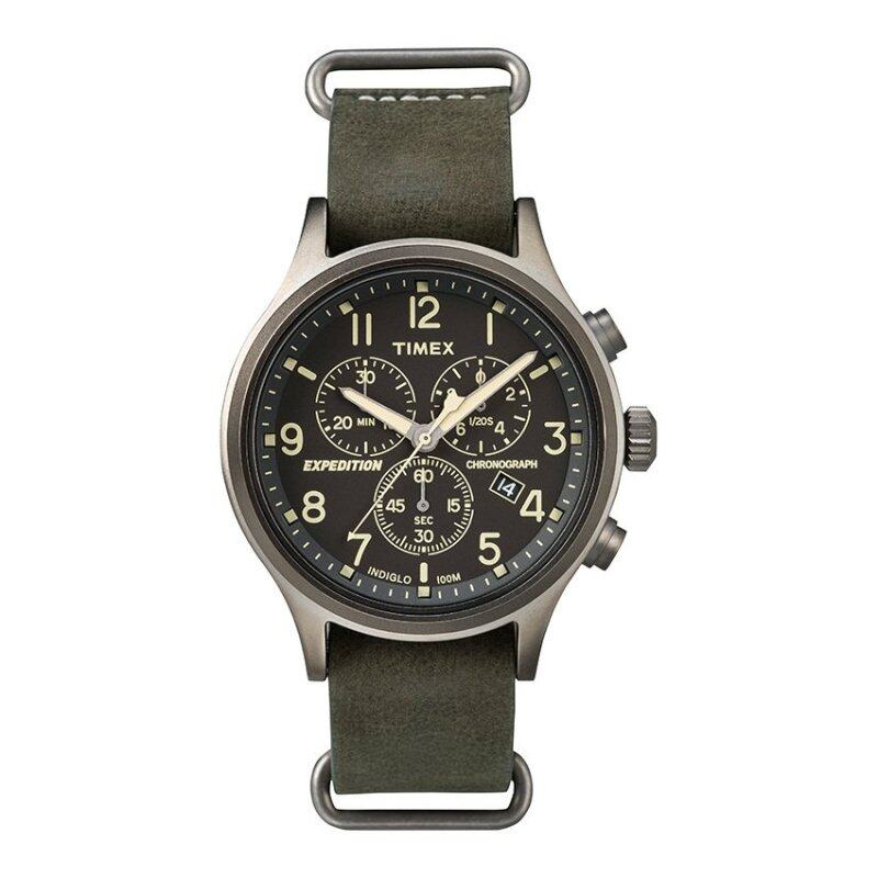 Timex Expedition® Scout Chrono with Gray Case and Leather Strap TW4B04100 Malaysia