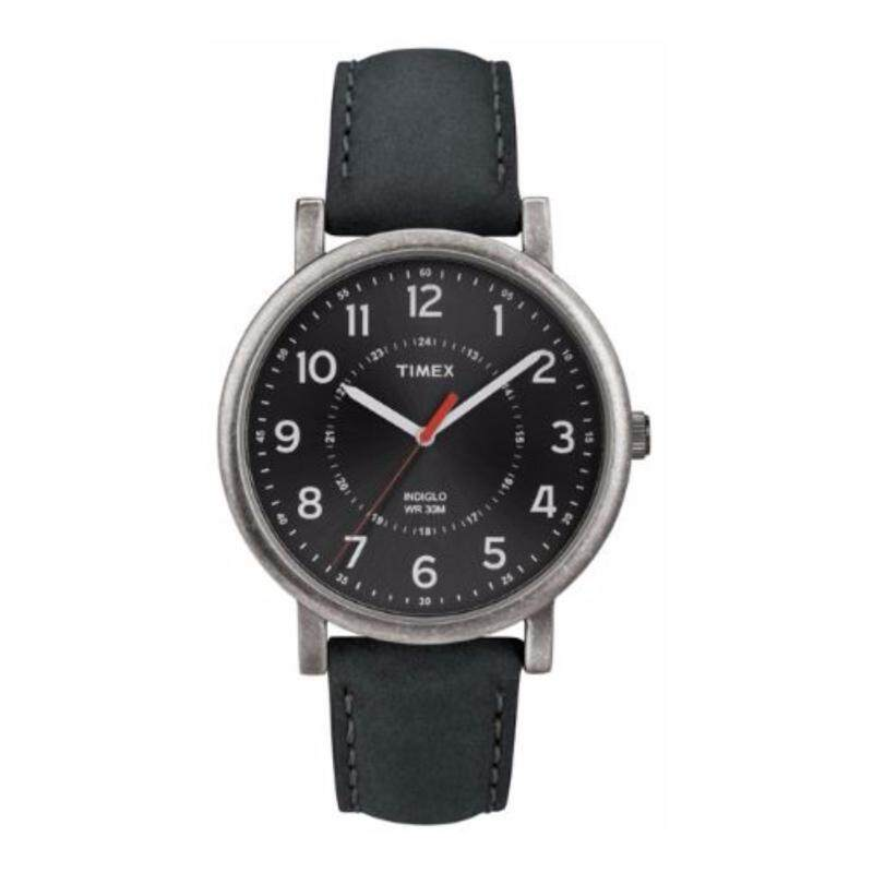 Timex Men T2P219 Originals Oversized Black Genuine Leather Strap Watch Malaysia