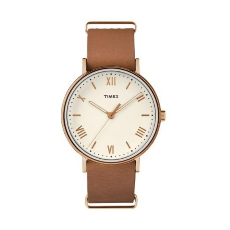 Timex Style-Style Elevated Elevated Classic Straps And Bracelets Southview Unisex 41Mm Cream Dial/Tan Strap/ Rose-Gold Malaysia