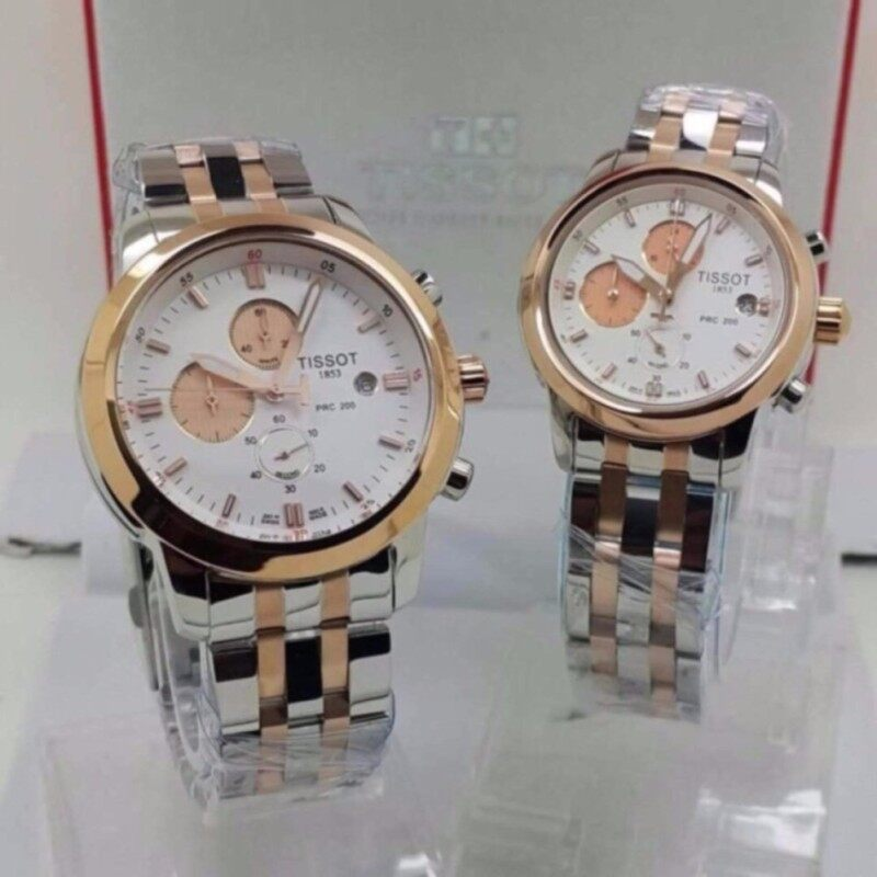 Tissot Couple Steel Silver/Gold White Fancy Dial Watch Malaysia