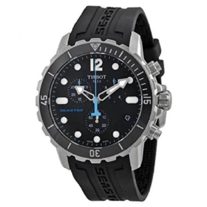 Tissot Mens T066. Seastar 1000 Black Dial Black Rubber Strap Swiss Quartz Watch Malaysia