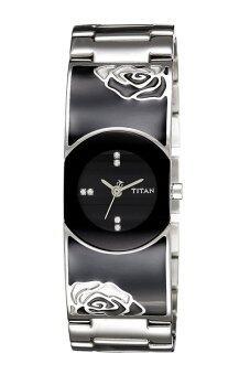 Titan Woman's Black Stainless Steel Strap Watch 9818SM02