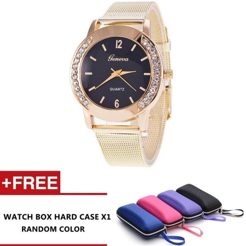 To Vima Fashion Women Crystal Stainless Steel Analog Quartz Wrist Watch Bracelet (Black) Malaysia
