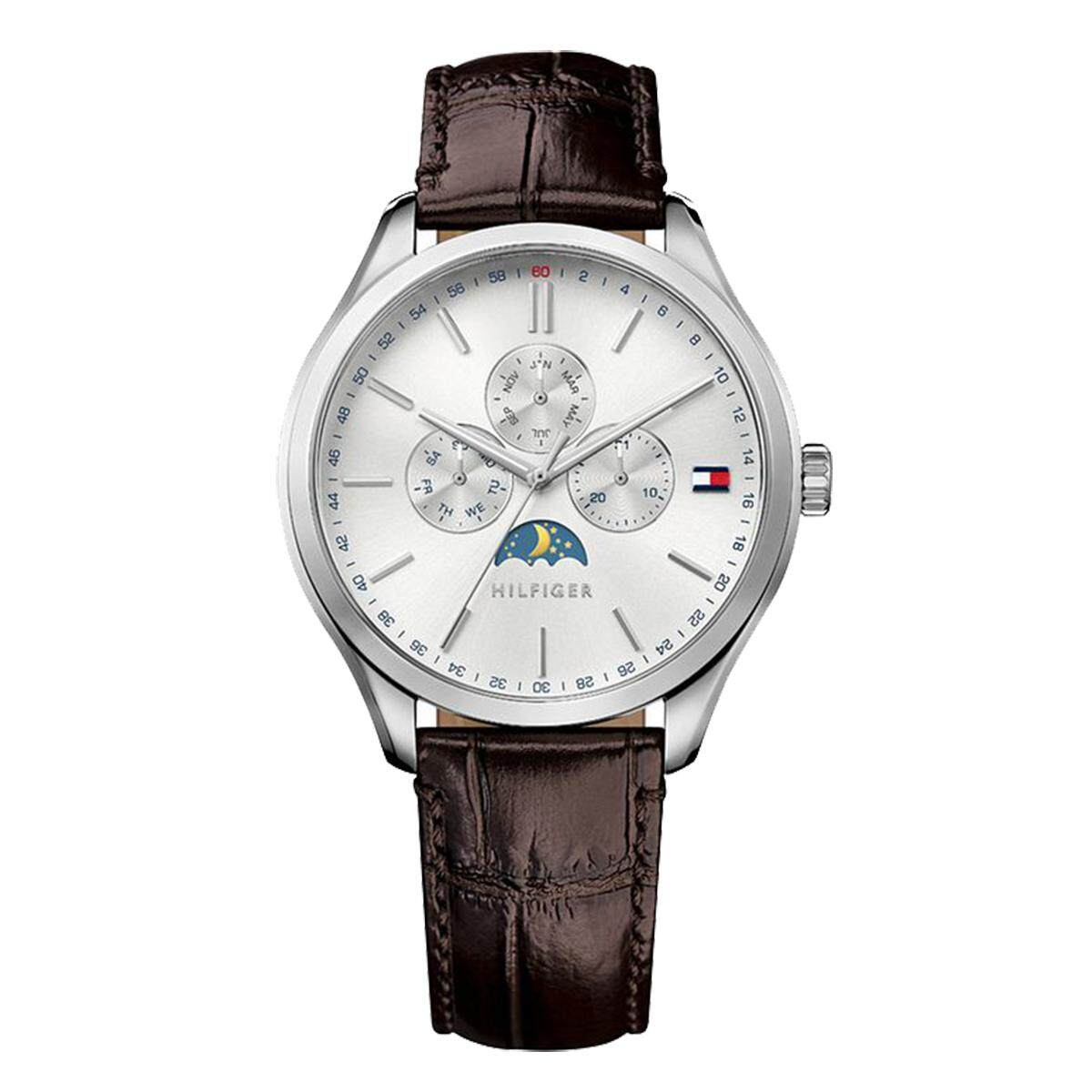 Tommy Hilfiger Watch Oliver Moon Phase Brown Stainless-Steel Case Leather Strap Mens NWT + Warranty 1791304