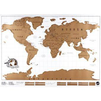 Harga Travel Scratch Off Map Personalized World Map Poster TravelerVacation Log