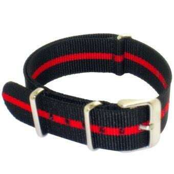Harga Twinklenorth 20mm Black Red Single Stripe Nato Strap Nylon MilitaryWatch Band Strap Watchband NATO-010