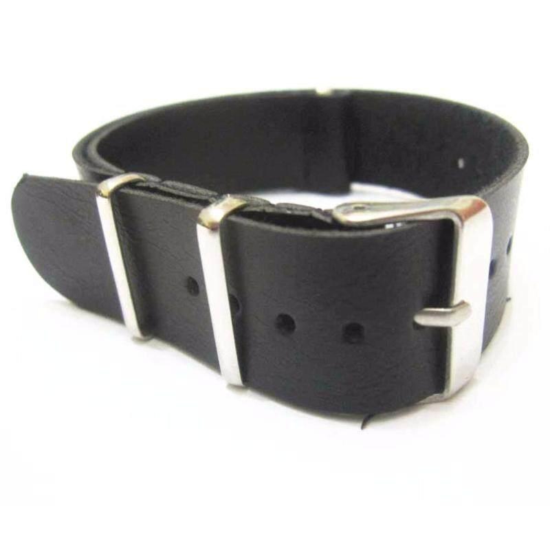 Twinklenorth 22mm Black Genuine Leather Nato Military Watch Band Strap NATO-024 Malaysia