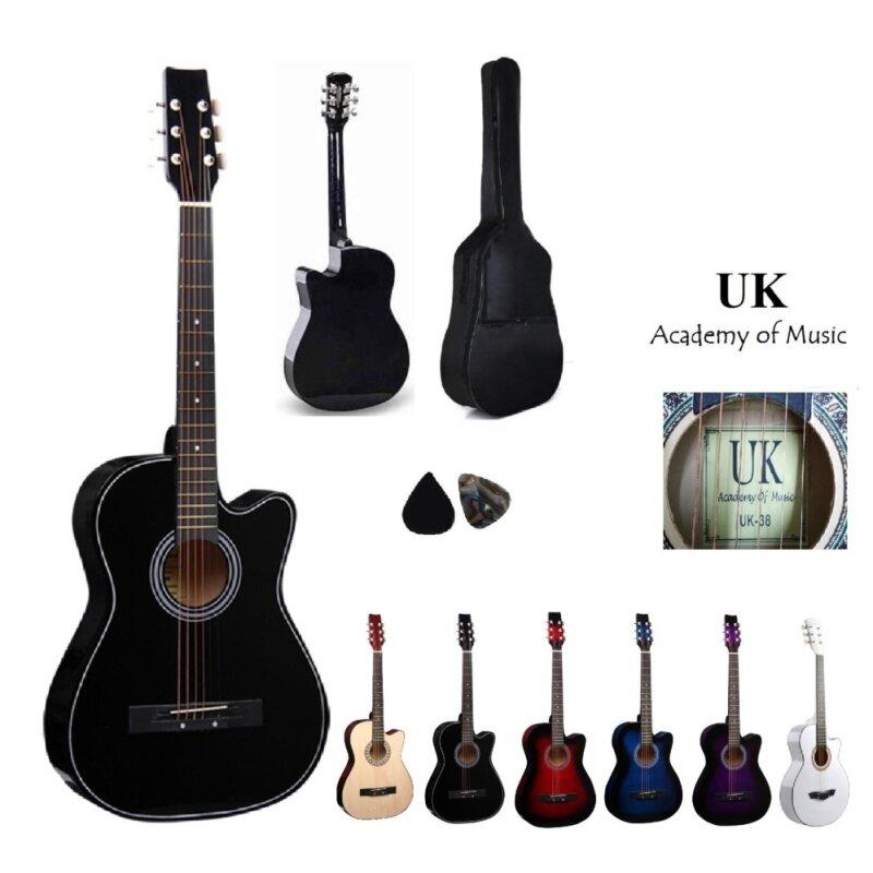 UK Acoustic Guitar 38 Inch(Black) Free Bag and 2 Picks Malaysia