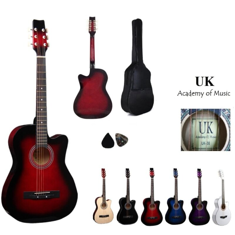 UK Acoustic Guitar 38 Inch(Red) Free Bag and 2 Picks Malaysia