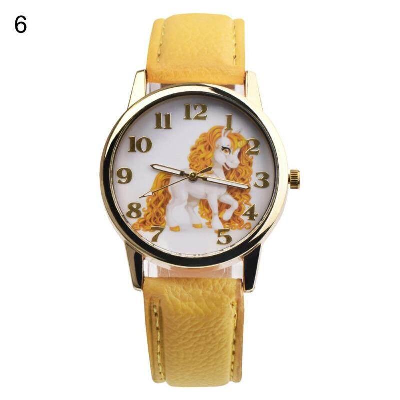 Useful Girl Boy Unicorn Watch Analog Display Faux Leather Quartz Wrist Watch Xmas Gift (4#) Malaysia