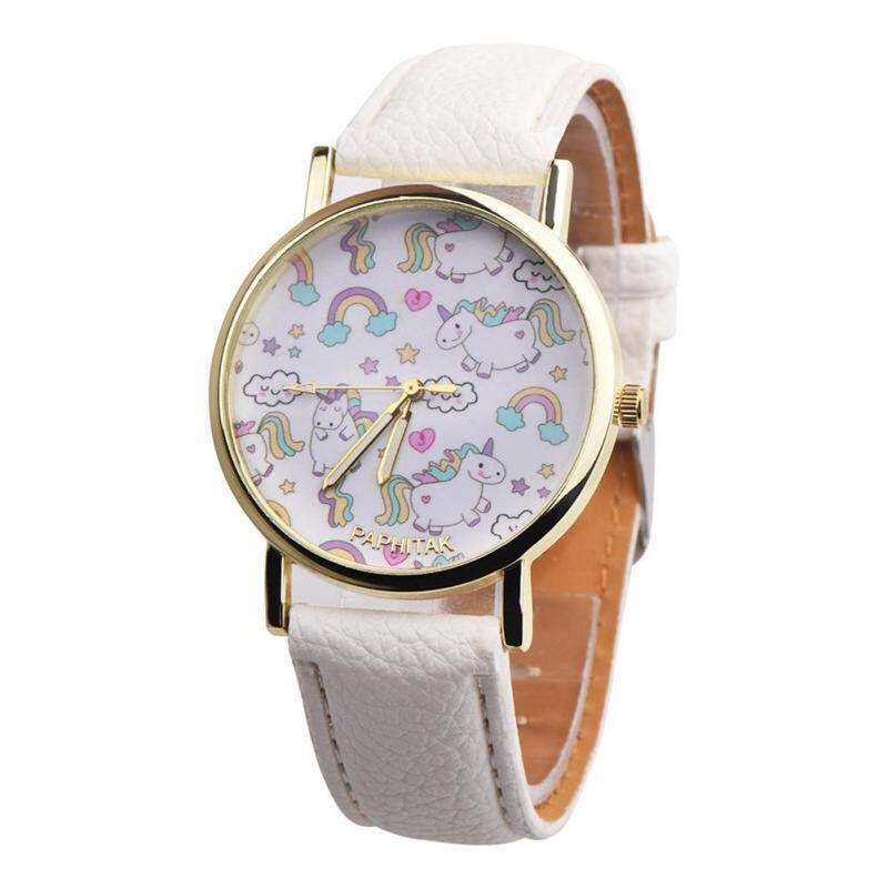 Useful Girls Cute Cartoon Rainbow Unicorn Quartz Analog Faux Leather Band Wrist Watch (Black) Malaysia