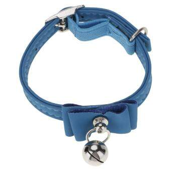 Harga Vanker-28*1cm Cute Durable PU Quick Release Puppy Cat Lovely BowCollar With Bell (Blue)