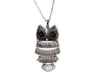 Harga Vintage Copper Bronze Art Gift Owl Pendant Necklace Retro LongChain