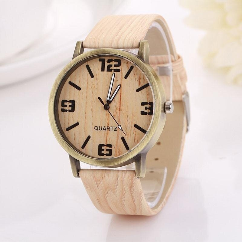 Vintage Wood Grain Watches Fashion Women Quartz Watch Wristwatch Gift -brown Malaysia