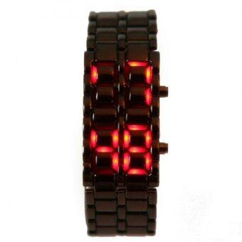 Harga Volcanic Lava Iron Samurai Metal Faceless Bracelet Red LED Watchfor Men and Women (Black)