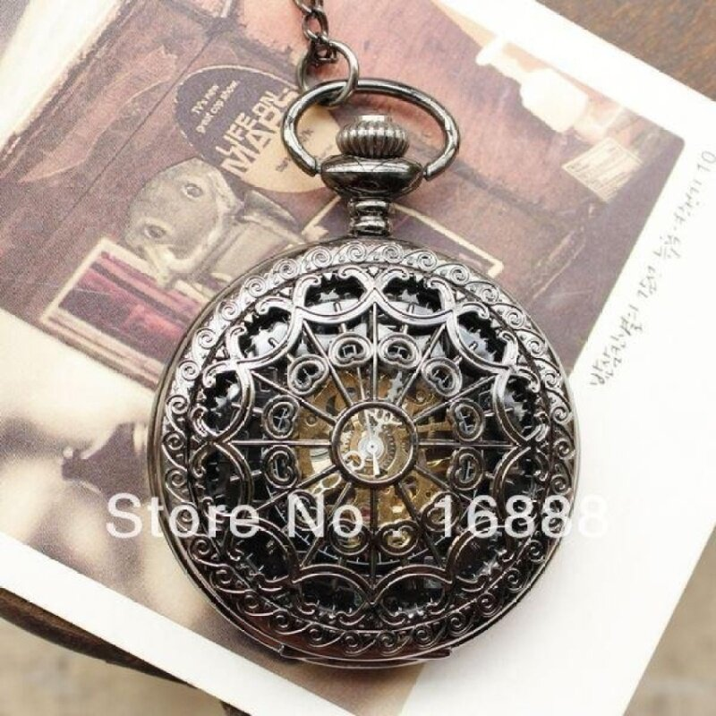 voouhoof New arrival pocket watch necklace automatic mechanicalwatch hand wind spide pendants men women (as pic) Malaysia